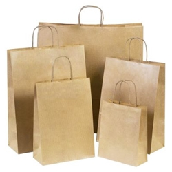 Plain brown paper carry bags suitable for retail applications available in three sizes from ABL.