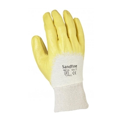 Sandfire yellow 3/4 nitrile dipped gloves with half back knitted wrist from ABL Distribution Pty Ltd