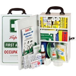 This is an image of Wall mount metal case first aid kit suitable for the workplace from ABL Distribution Pty Ltd