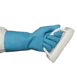This is an image of Blue Rubber Gloves Silver Lined from ABL Distribution Pty Ltd