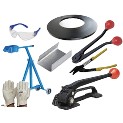 This is an image of Deluxe Steel Strapping Starter Kit containing everything you need to start using steel strapping today