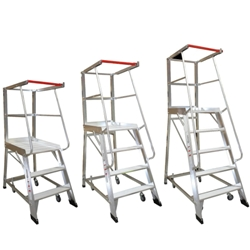This is an image of Monstar platform order picking ladders suitable for all warehouses from ABL Distribution Pty Ltd