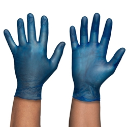 This is an image of Blue Vinyl Powder Free Gloves from ABL Distribution Pty Ltd