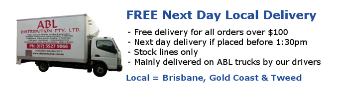 ABL offers FREE Next Day Delivery for orders over $100 to its Brisbane, Gold Coast and Tweed Customers