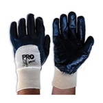 This is an image of Superguard 3/4 dipped blue nitrile gloves with knitted wrist and great abrasion resistance from ABL Distribution Pty Ltd