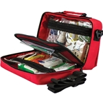 This is an image of Portable Soft Case First Aid Kits with compartments and shoulder strap from ABL Distribution Pty Ltd