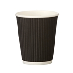 This is an image if 8oz Disposable Rippled Black Coffee Cup for Hot Drinks from ABL Distribution Pty Ltd