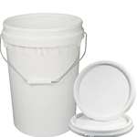 This is an image of White 20L plastic pail and lid from ABL Distribution Pty Ltd