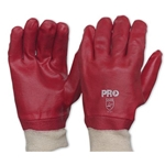 This is an image of Red Pvc Knitted Wrist Chemical Gloves