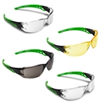 This is an image of Cirrus green arms safety glasses are stylish and offer 99.9% UV protection from ABL Distribution Pty Ltd